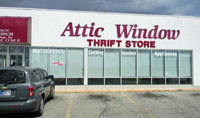 Attic Window Thrift store locations include Muncie, IN; Broadway Blvd.