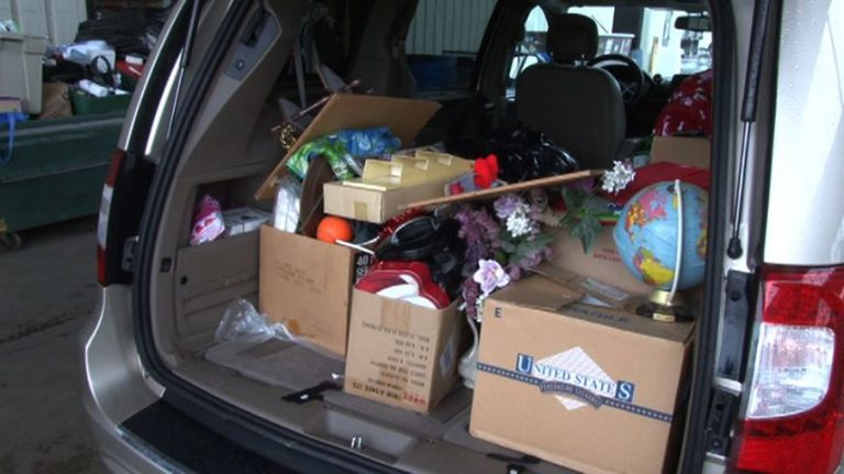 Car loaded with donations for the New Life Center.