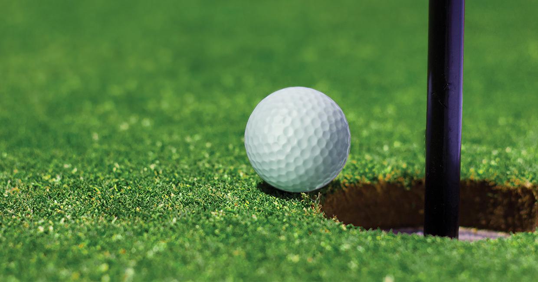 Green grass and golf ball